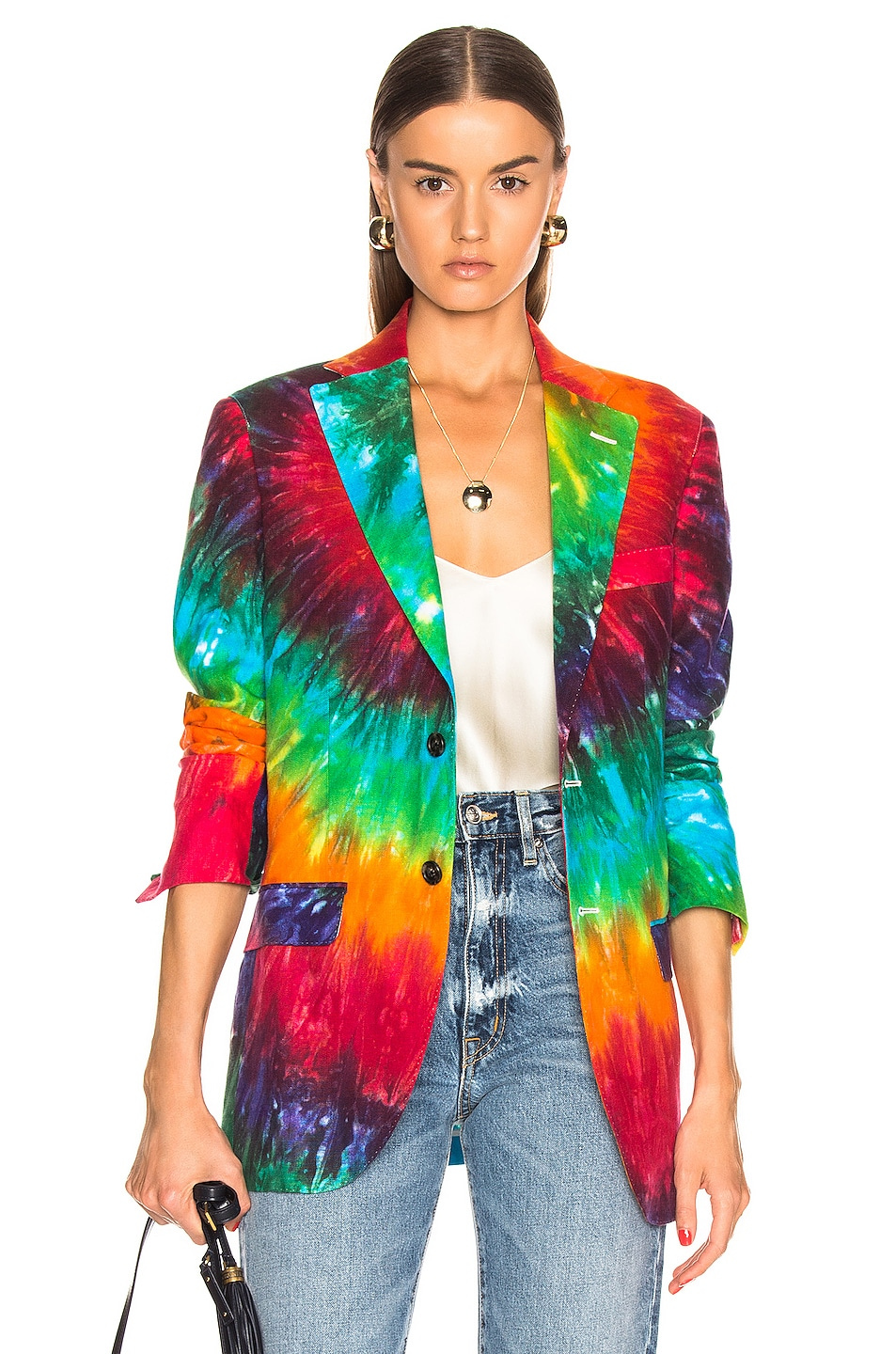 Image 1 of R13 Boyfriend Blazer in Rainbow Tie Dye