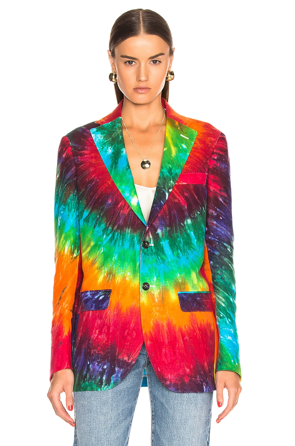 Image 2 of R13 Boyfriend Blazer in Rainbow Tie Dye