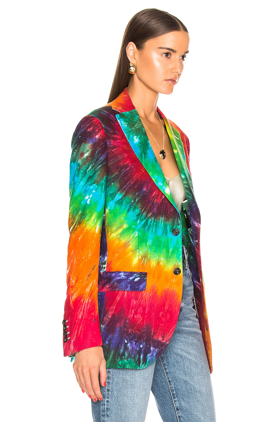 Image 3 of R13 Boyfriend Blazer in Rainbow Tie Dye