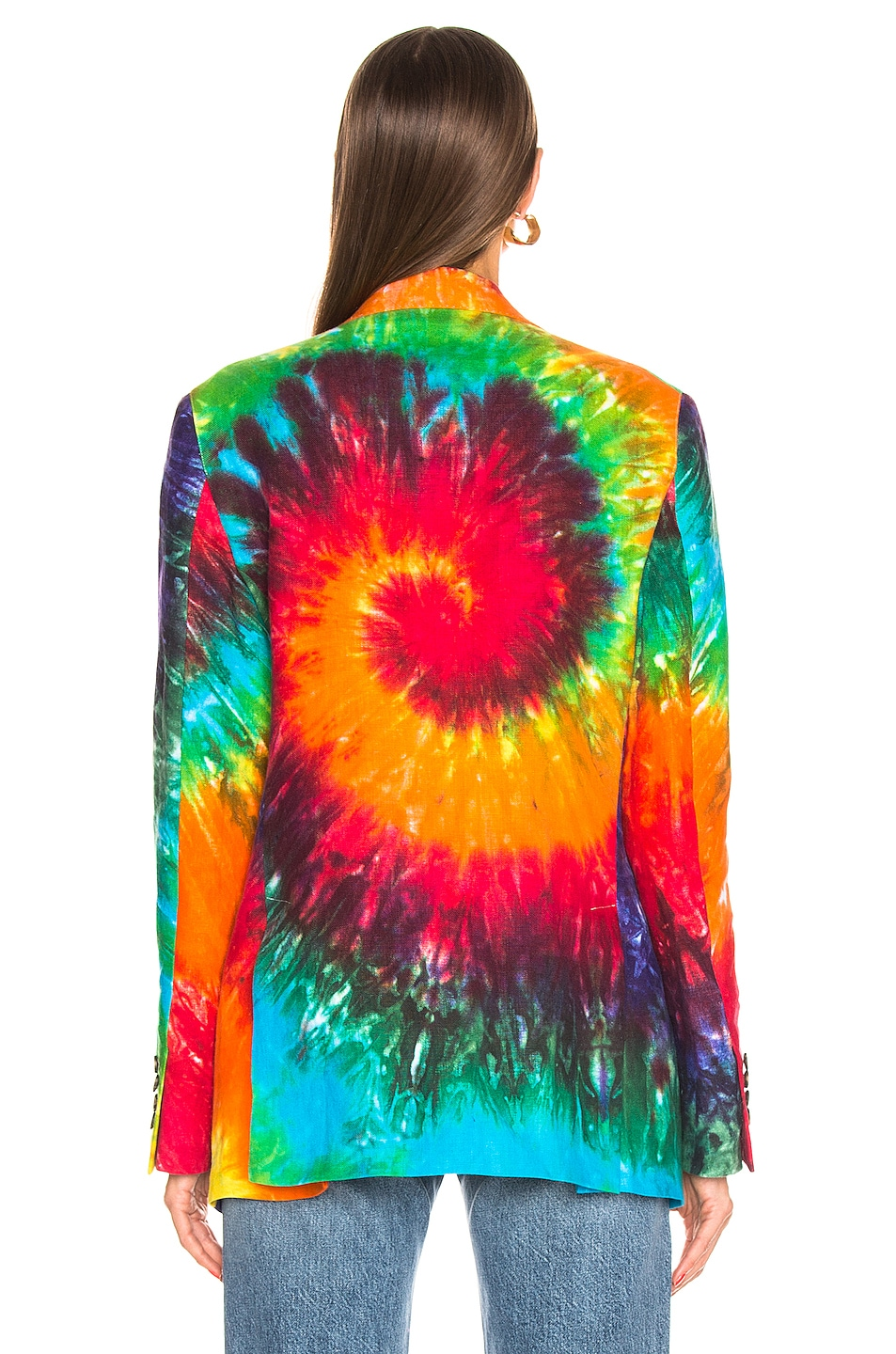 Image 4 of R13 Boyfriend Blazer in Rainbow Tie Dye