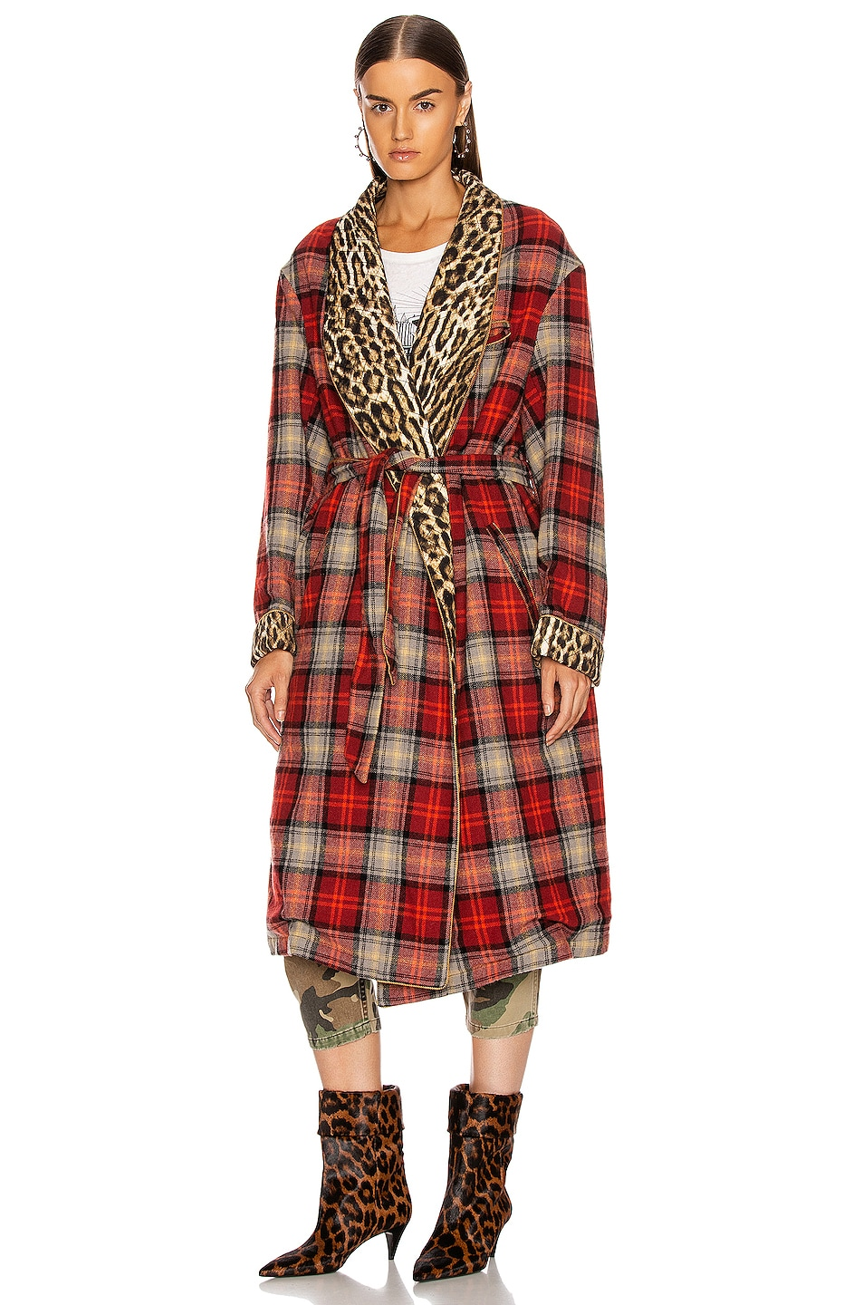 Image 2 of R13 Winter Robe Jacket in Red & Grey Plaid with Leopard