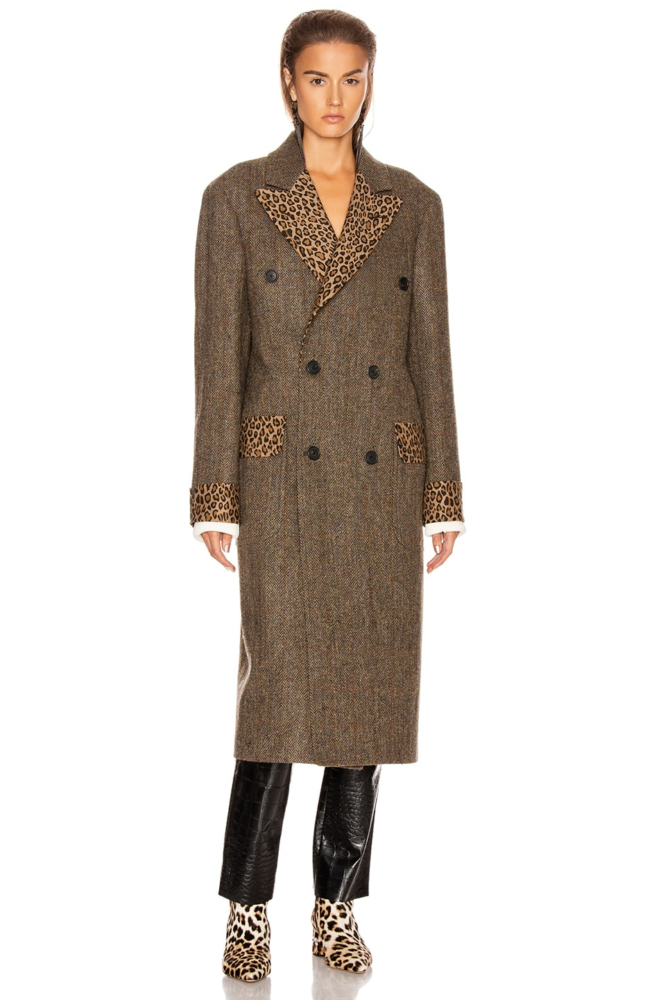 Image 2 of R13 Double Breasted Coat in Green Herringbone with Leopard