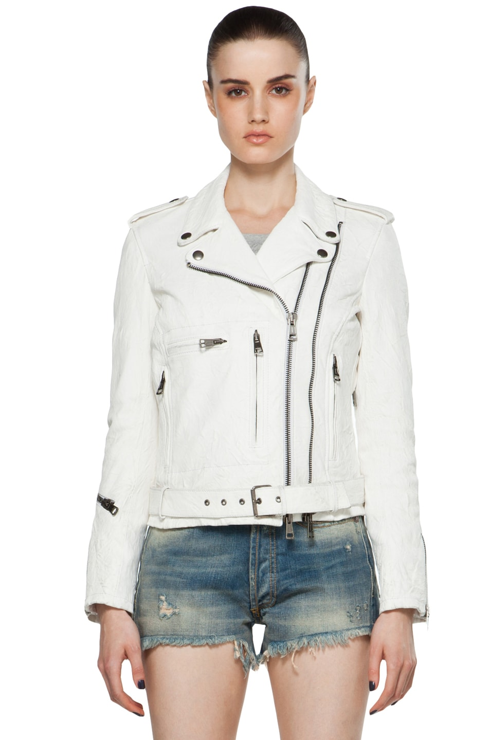 2d2a97c4 Image 1 of R13 Leather Moto Jacket in White