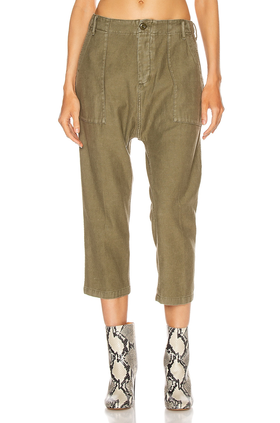 Image 1 of R13 Utility Drop Crotch Pant in Fatigue Olive