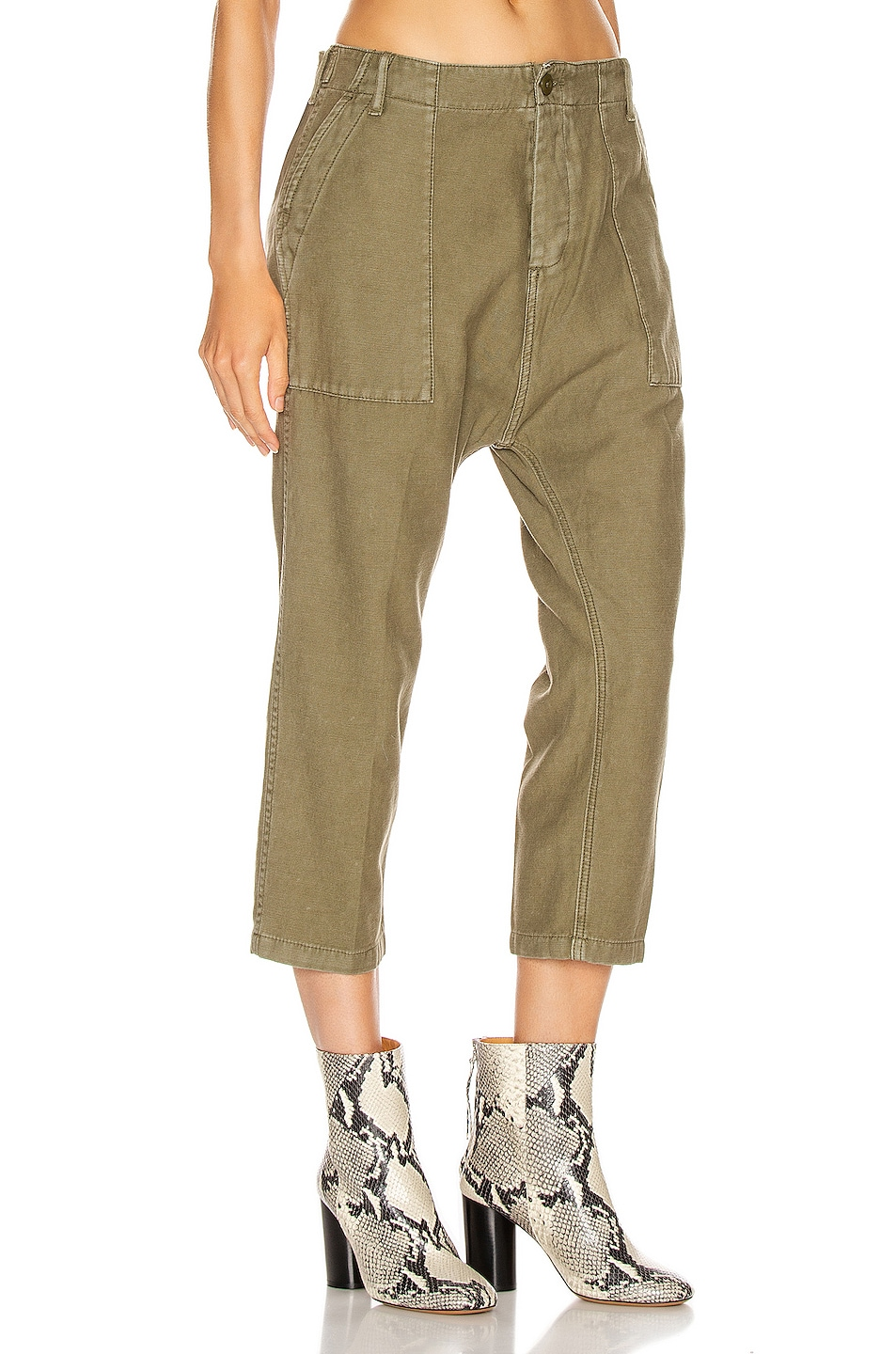 Image 2 of R13 Utility Drop Crotch Pant in Fatigue Olive