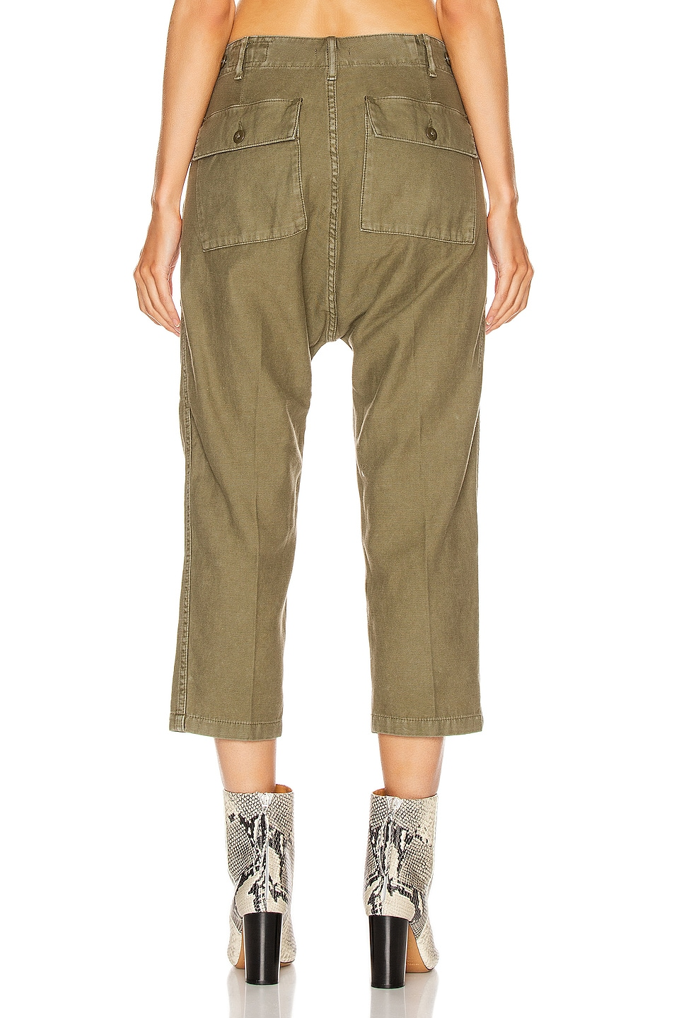 Image 3 of R13 Utility Drop Crotch Pant in Fatigue Olive