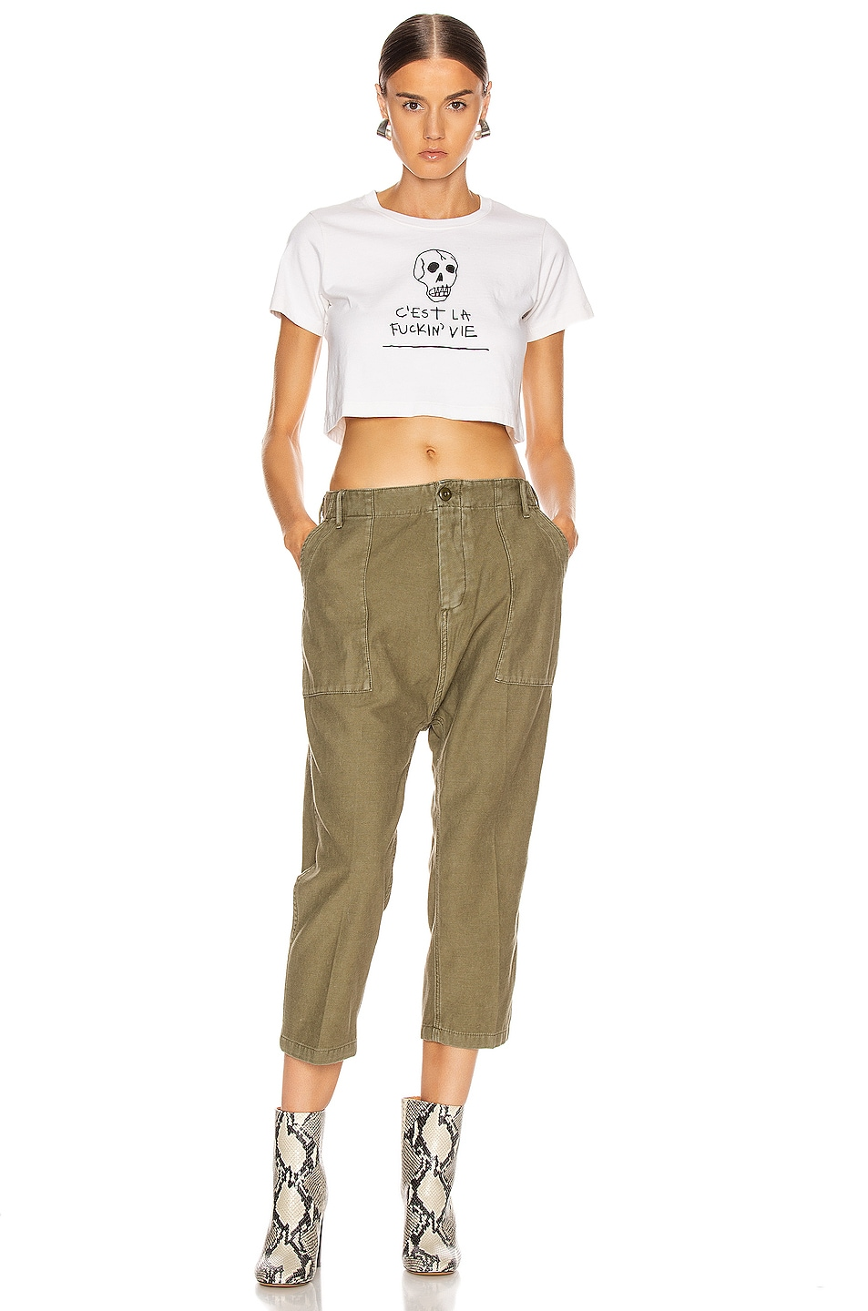 Image 4 of R13 Utility Drop Crotch Pant in Fatigue Olive