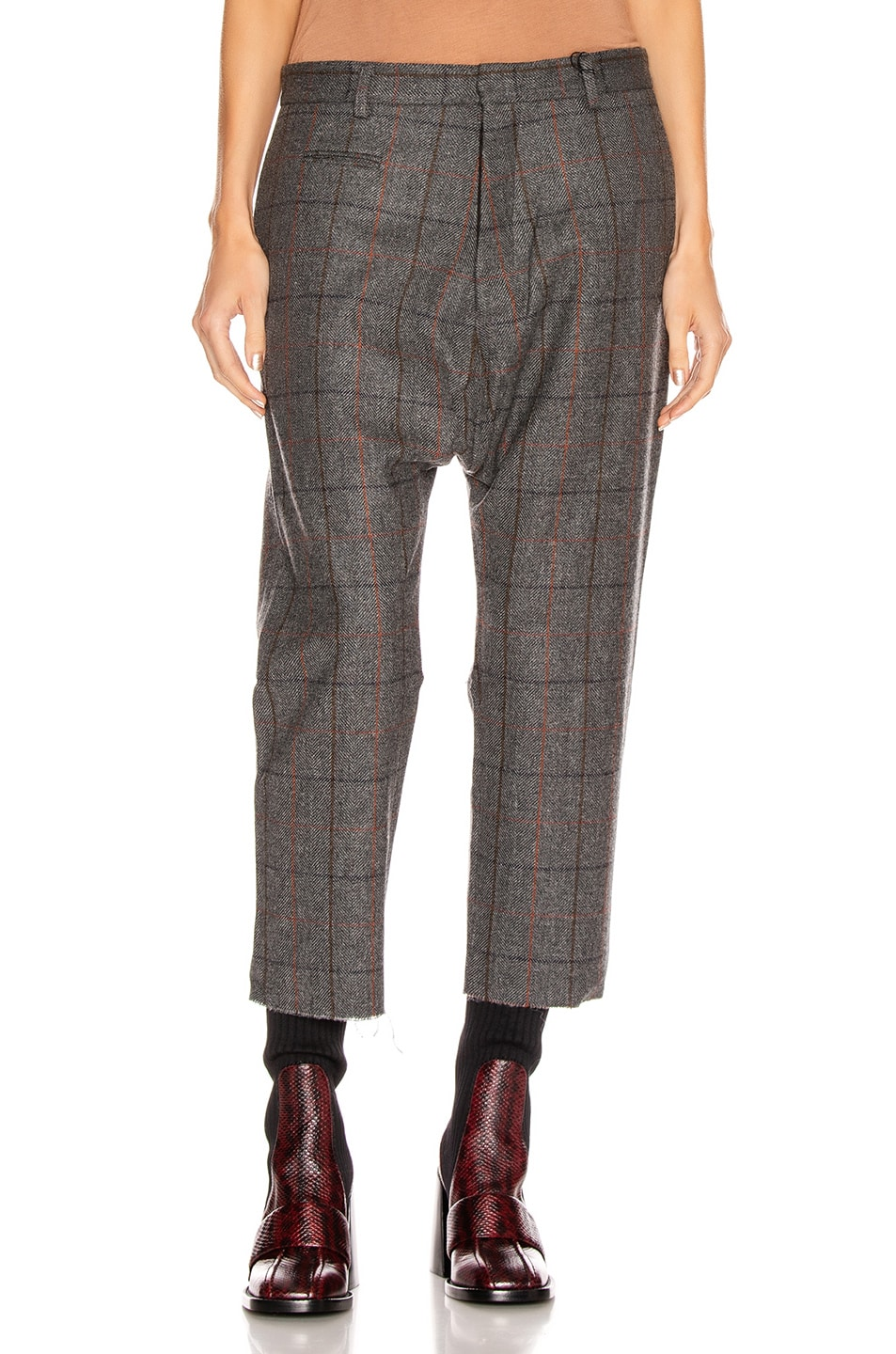 Image 1 of R13 Tailored Drop Trouser in Grey Plaid