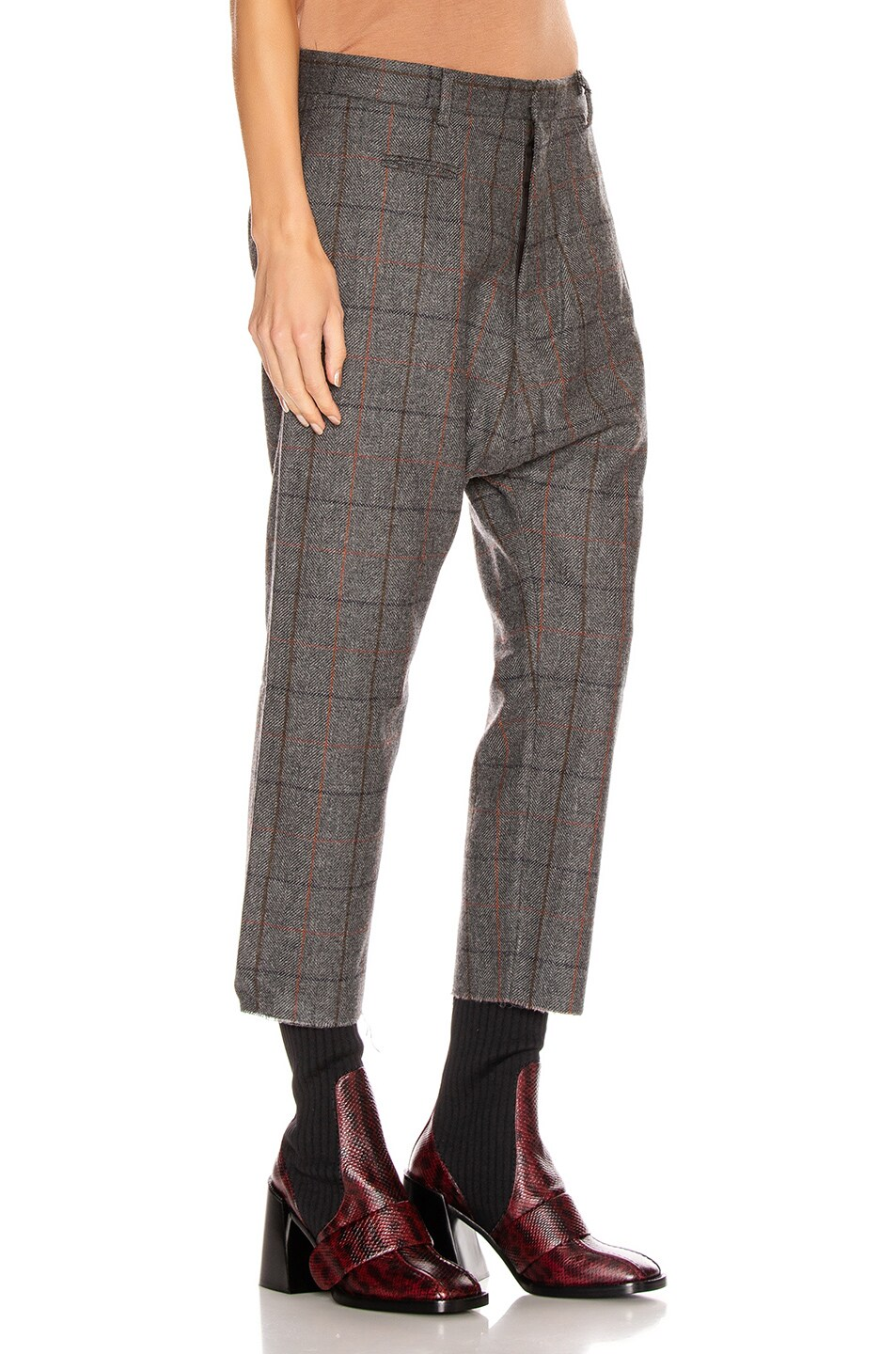 Image 2 of R13 Tailored Drop Trouser in Grey Plaid