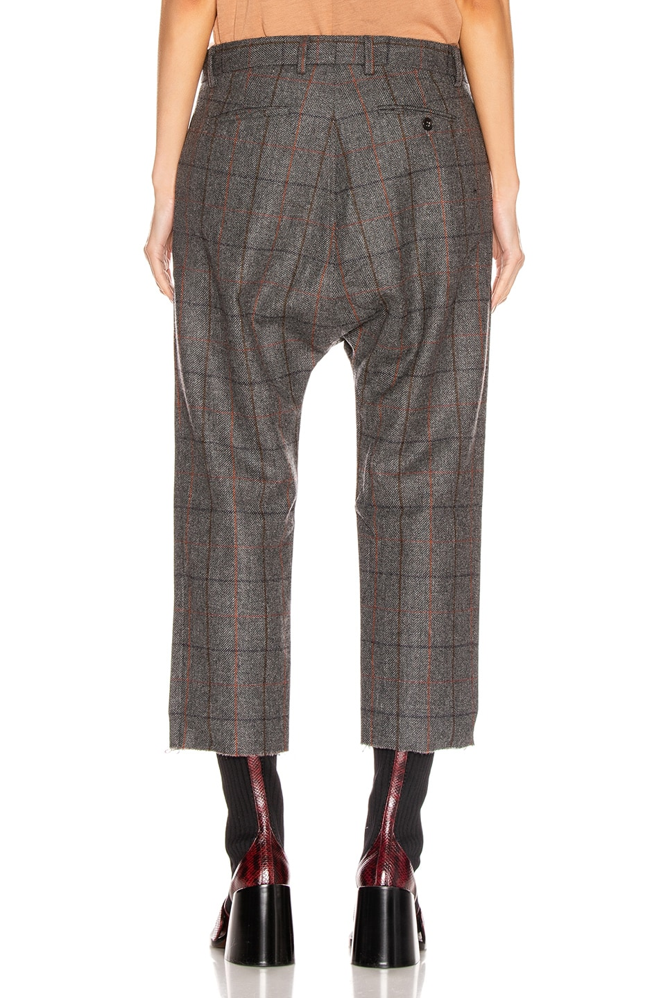 Image 3 of R13 Tailored Drop Trouser in Grey Plaid