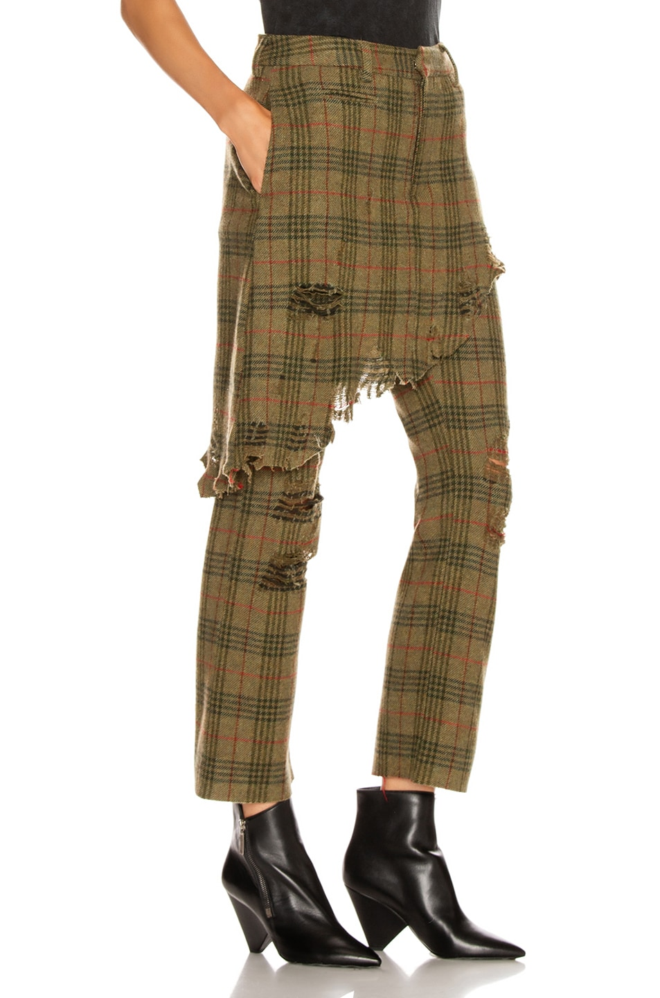 Image 2 of R13 Double Classic Trouser in Green Plaid