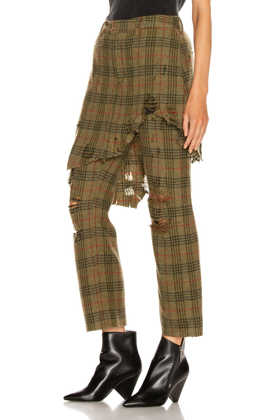 Image 3 of R13 Double Classic Trouser in Green Plaid