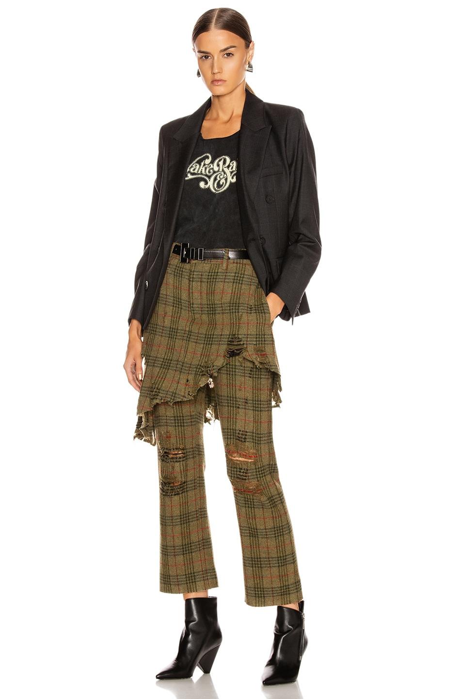 Image 5 of R13 Double Classic Trouser in Green Plaid