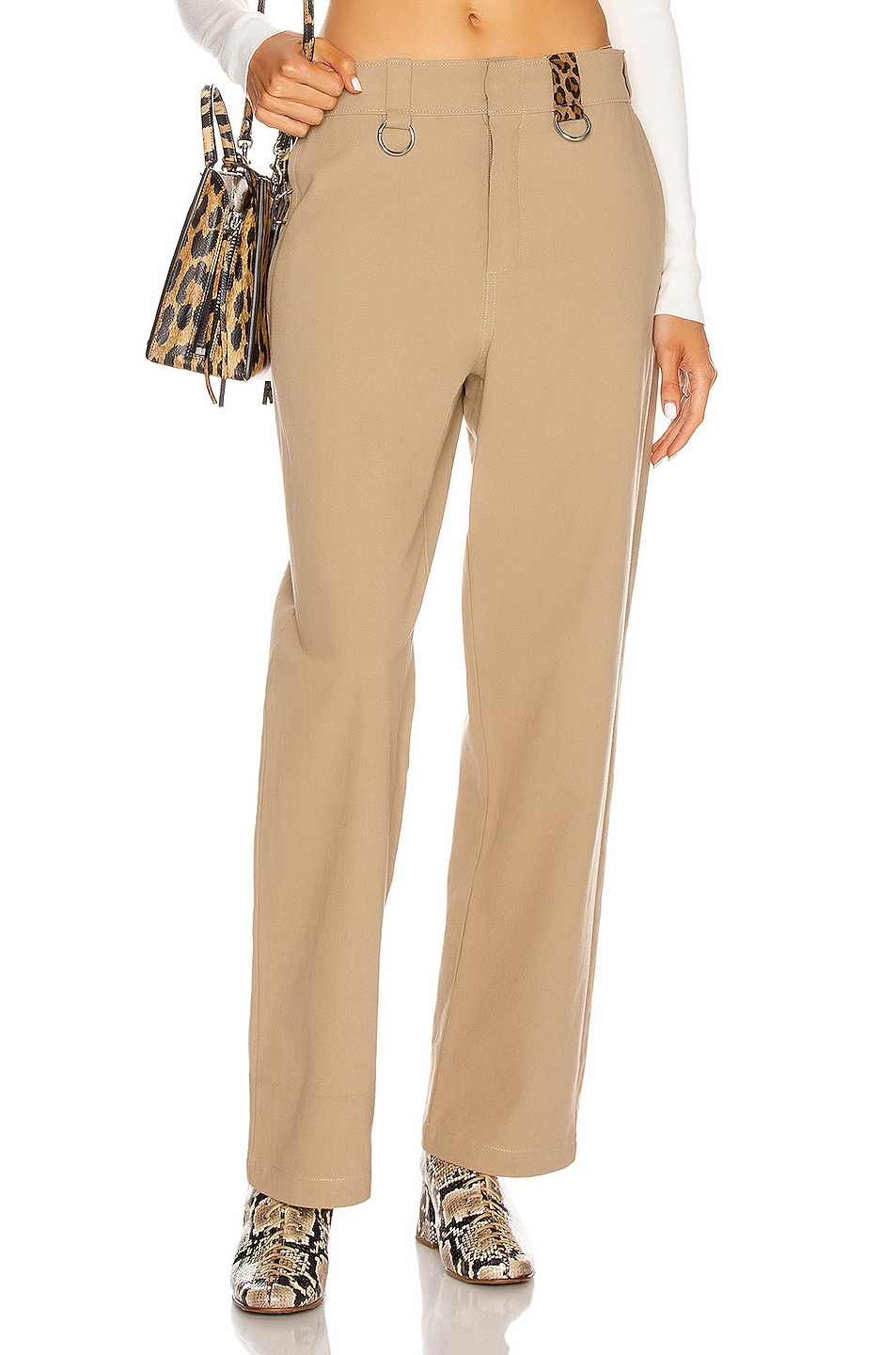 Image 1 of R13 Slouch Ring Pant in Khaki Leopard