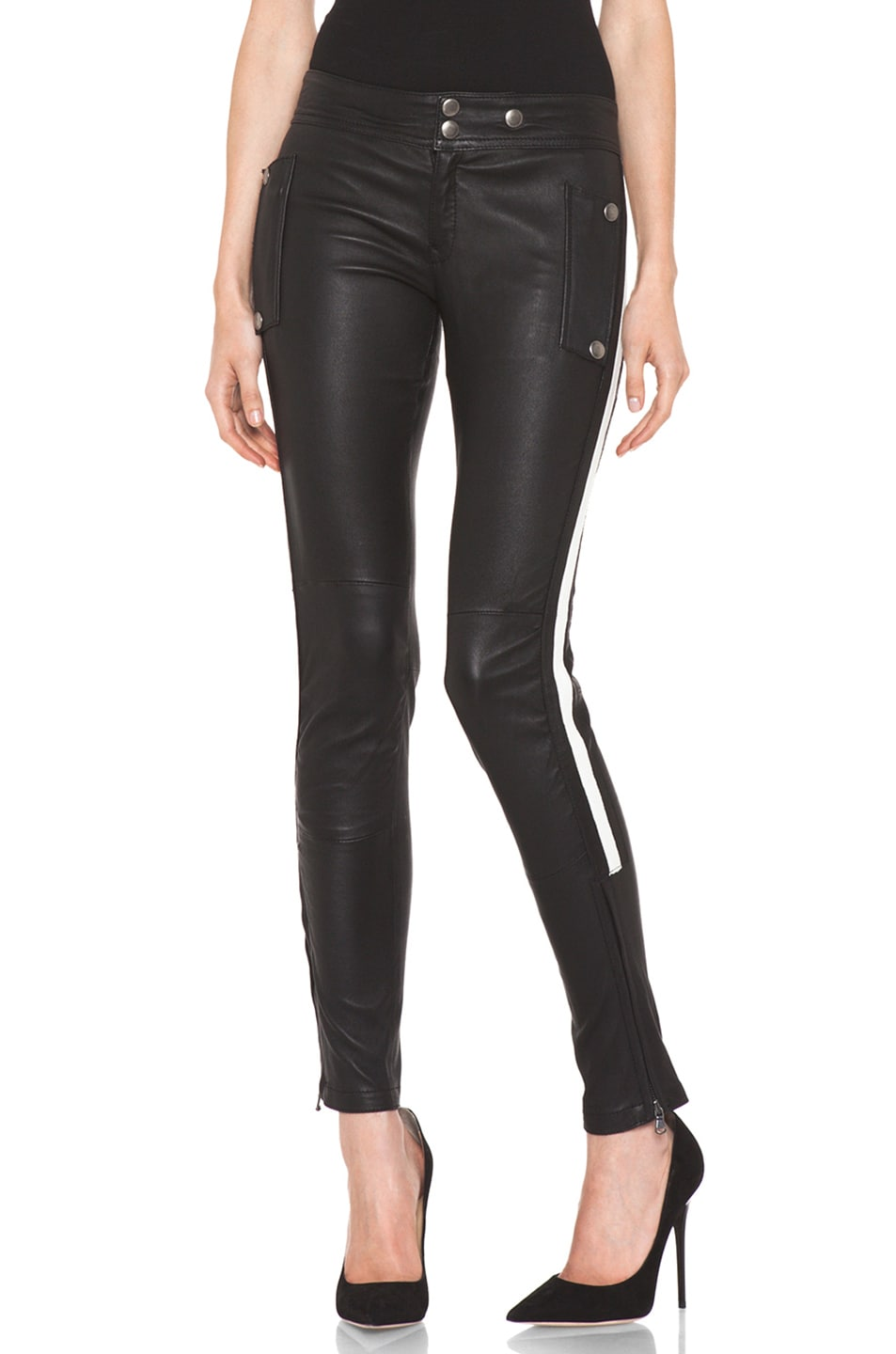 Image 1 of R13 Leather Racing Biker Pant in Black