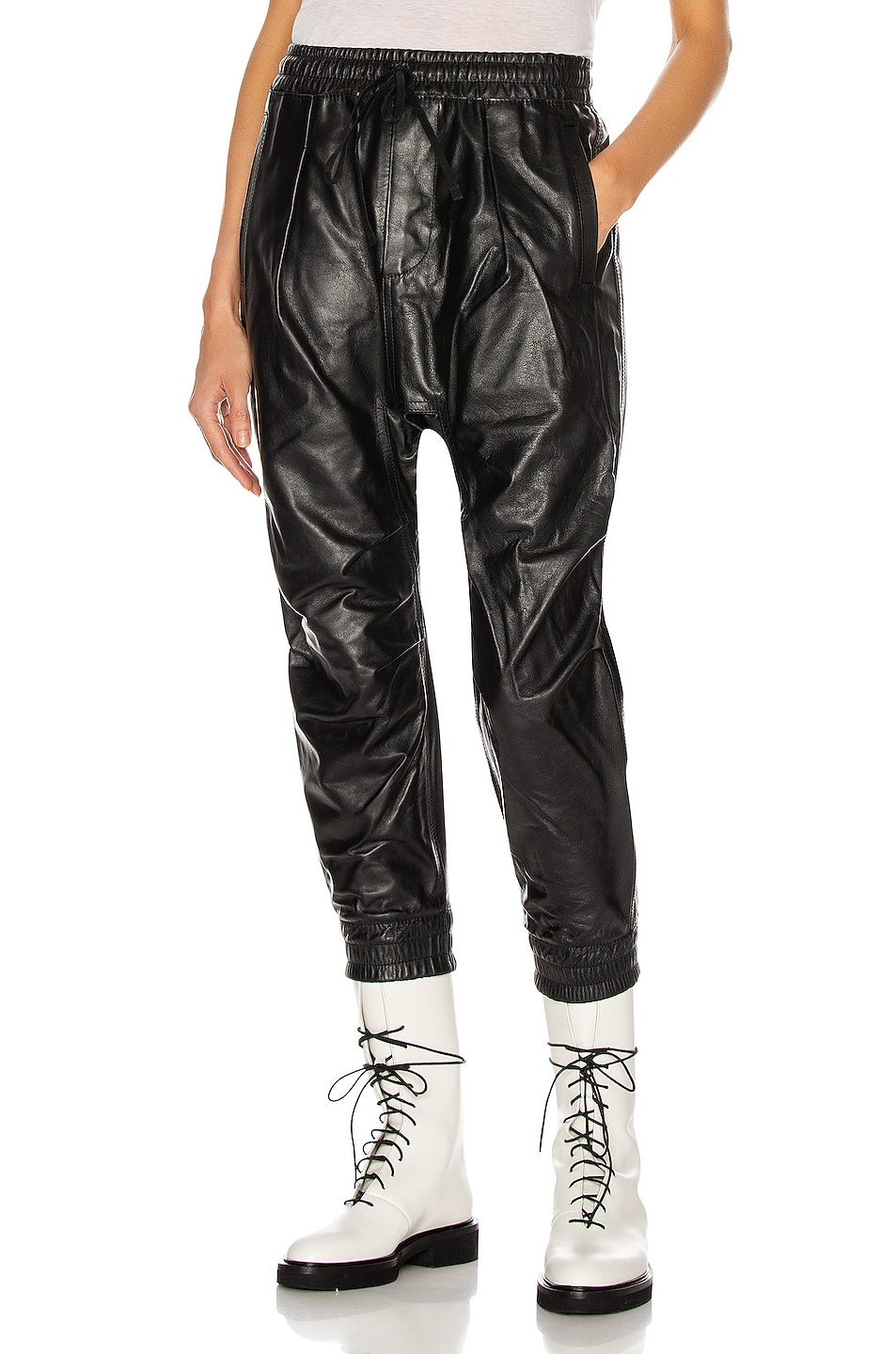 Image 1 of R13 Leather Harem Pant in Thin Black