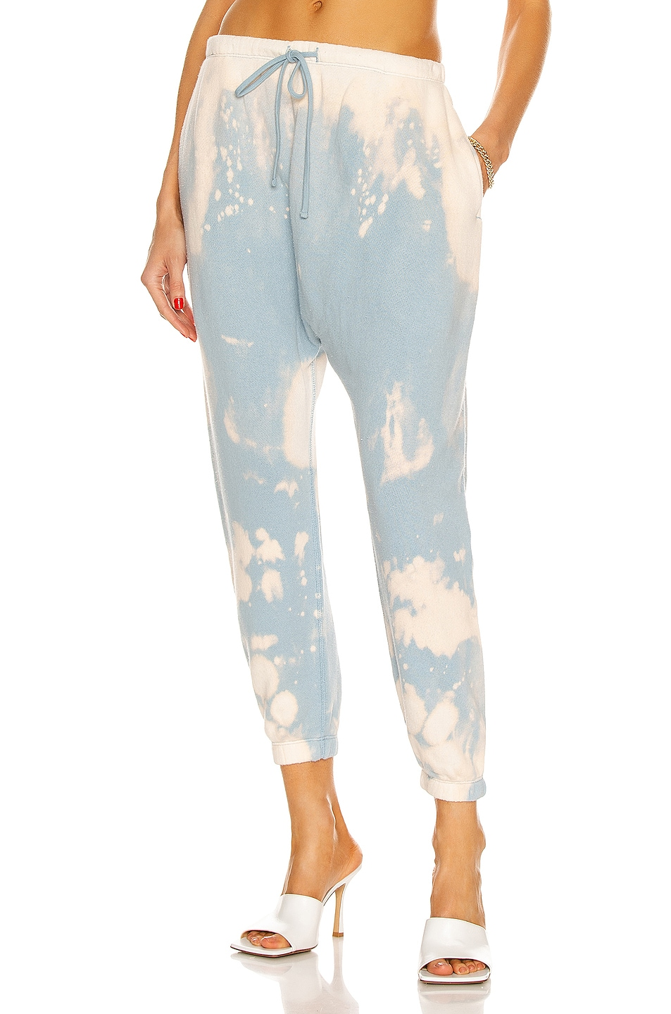 Image 1 of R13 Dropped Crotch Sweatpant in Bleached Light Blue