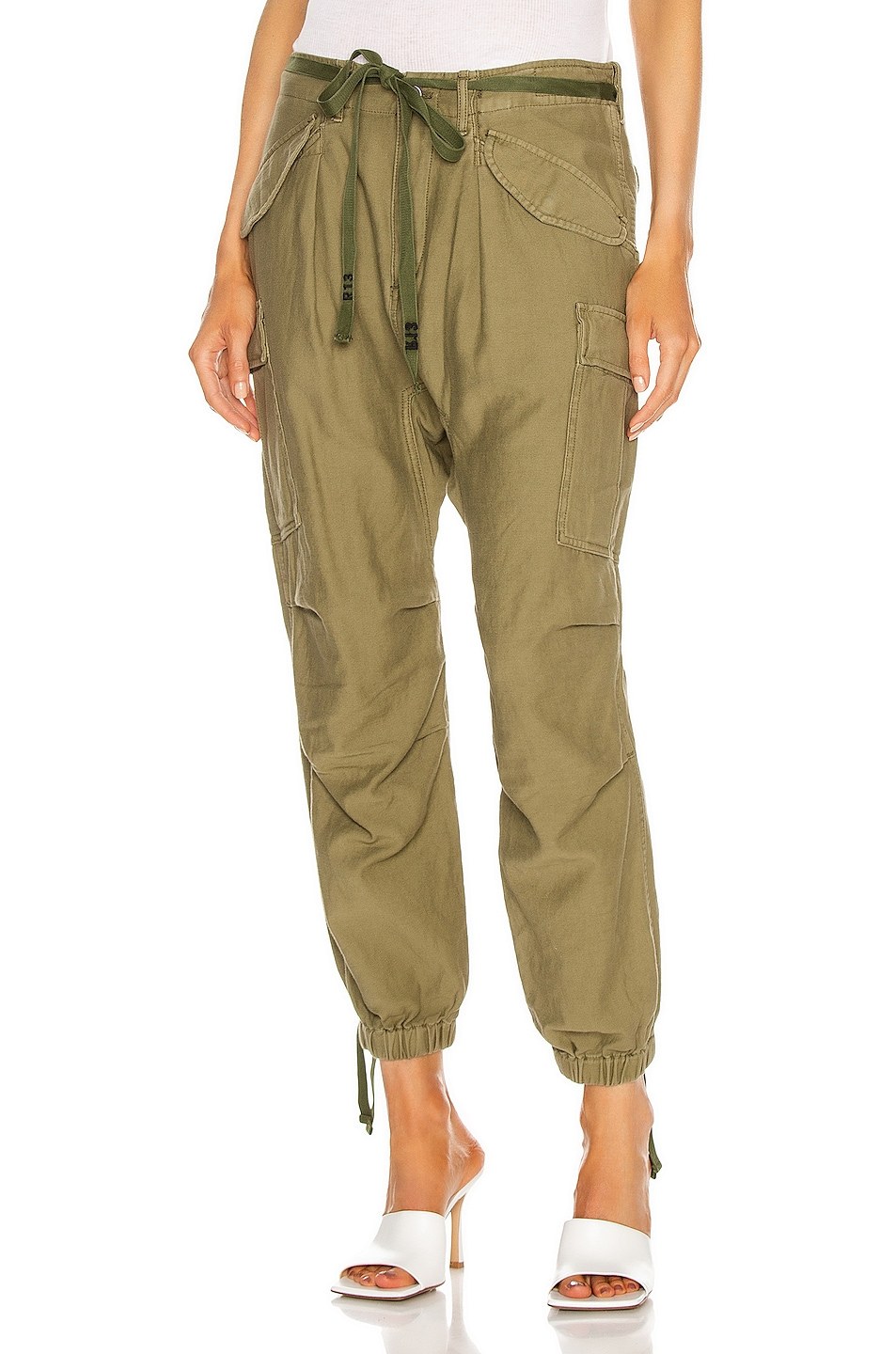 Image 1 of R13 Drop Crotch Cargo Pant in Olive