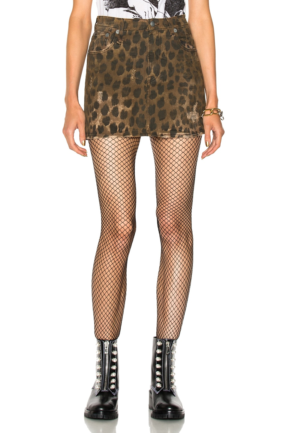 Image 1 of R13 High Rise Mini Skirt in Leopard