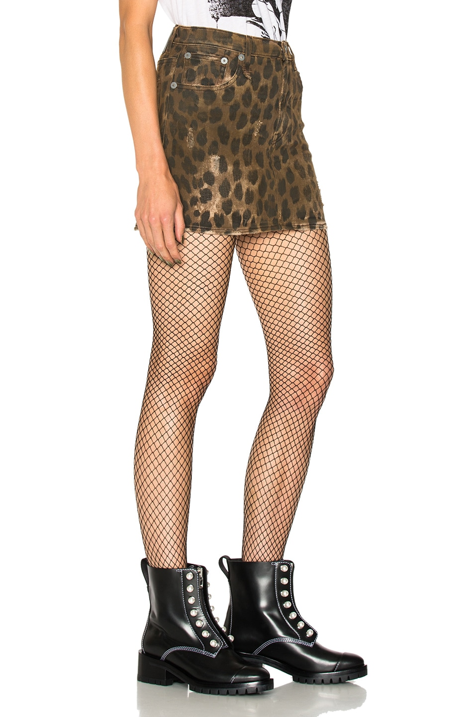 Image 2 of R13 High Rise Mini Skirt in Leopard