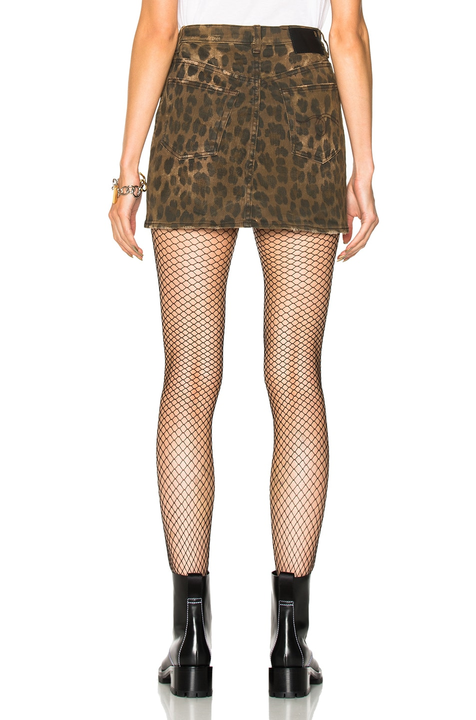 Image 3 of R13 High Rise Mini Skirt in Leopard