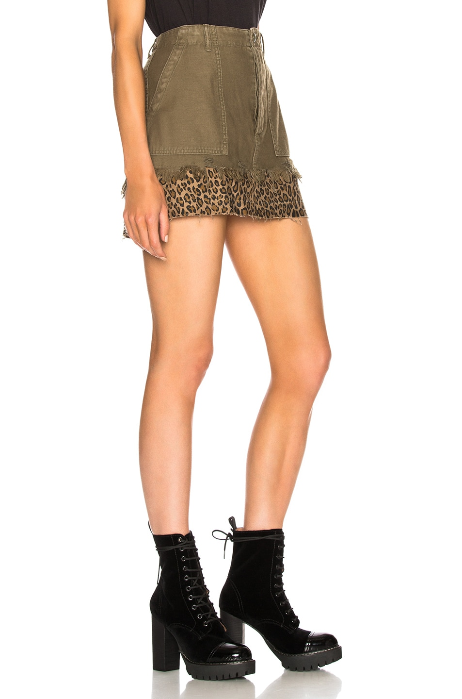 Image 2 of R13 Utility Camp Skirt in Fatigue Olive
