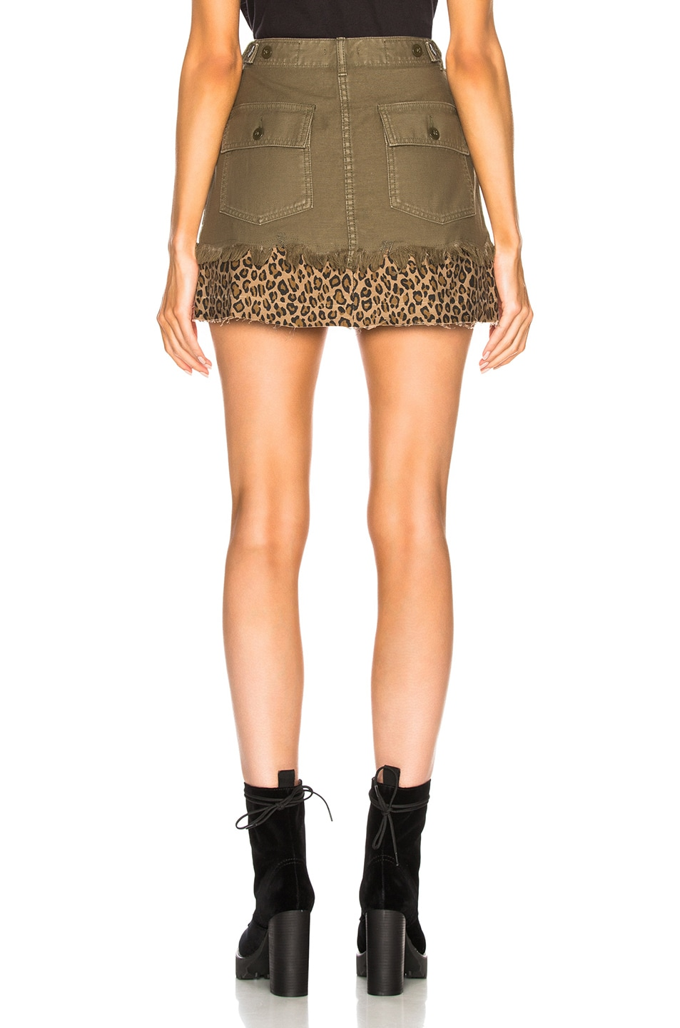 Image 3 of R13 Utility Camp Skirt in Fatigue Olive