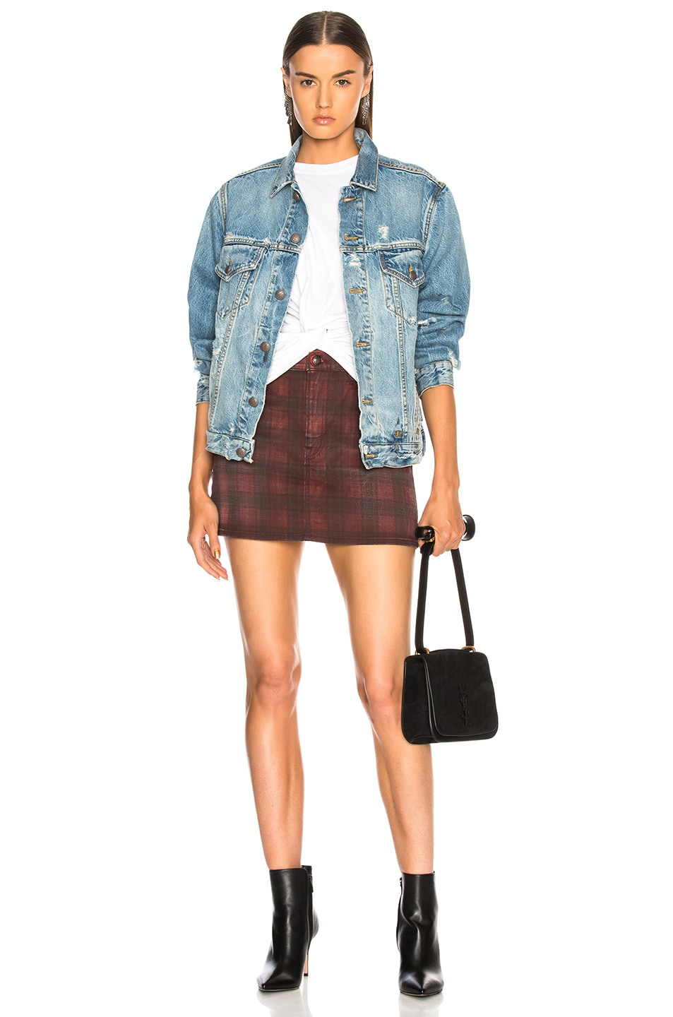 Image 4 of R13 High Rise Mini Skirt in Red Plaid