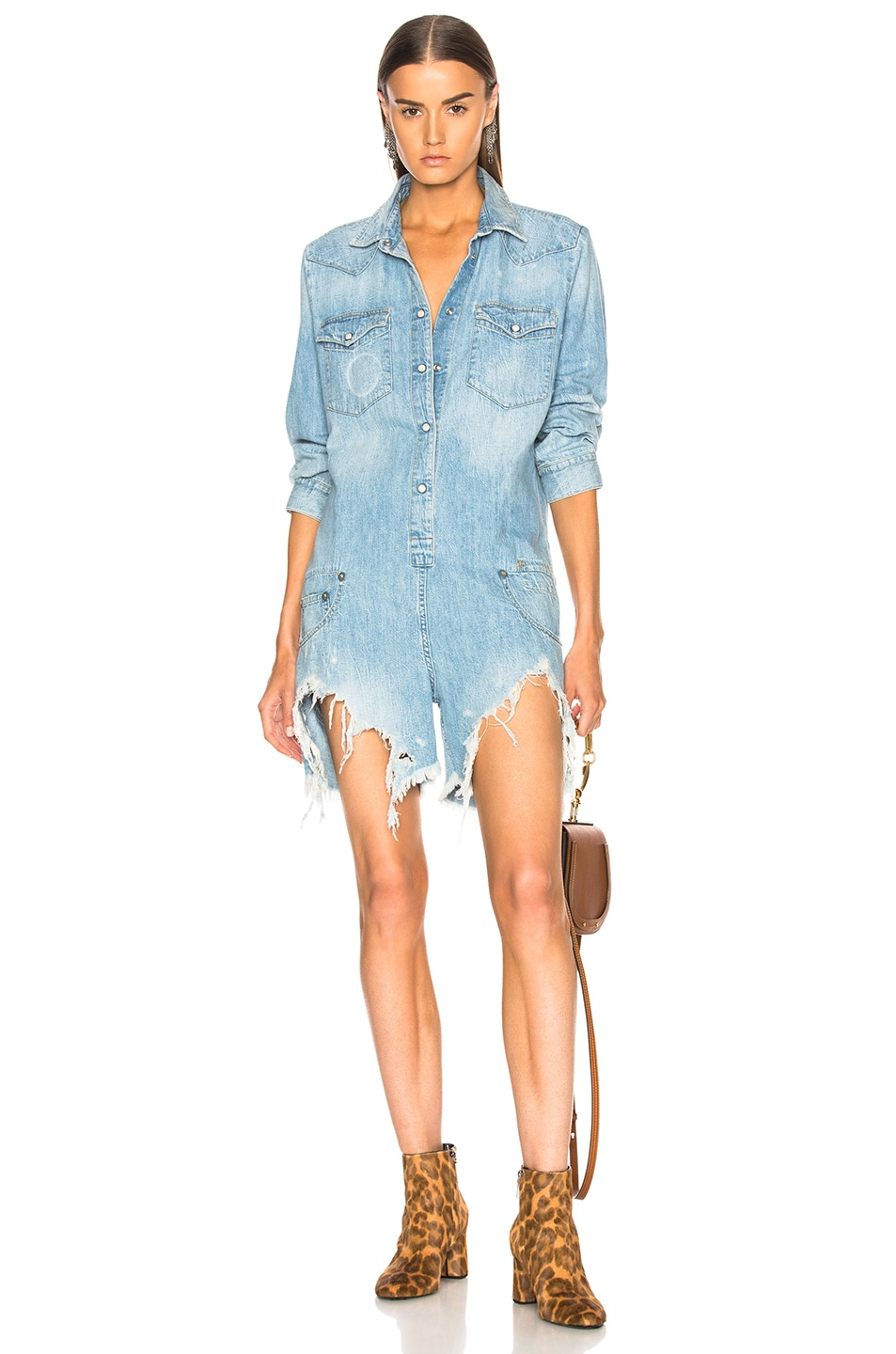 Image 1 of R13 Cowboy Romper with Shredded Hem in Timmy
