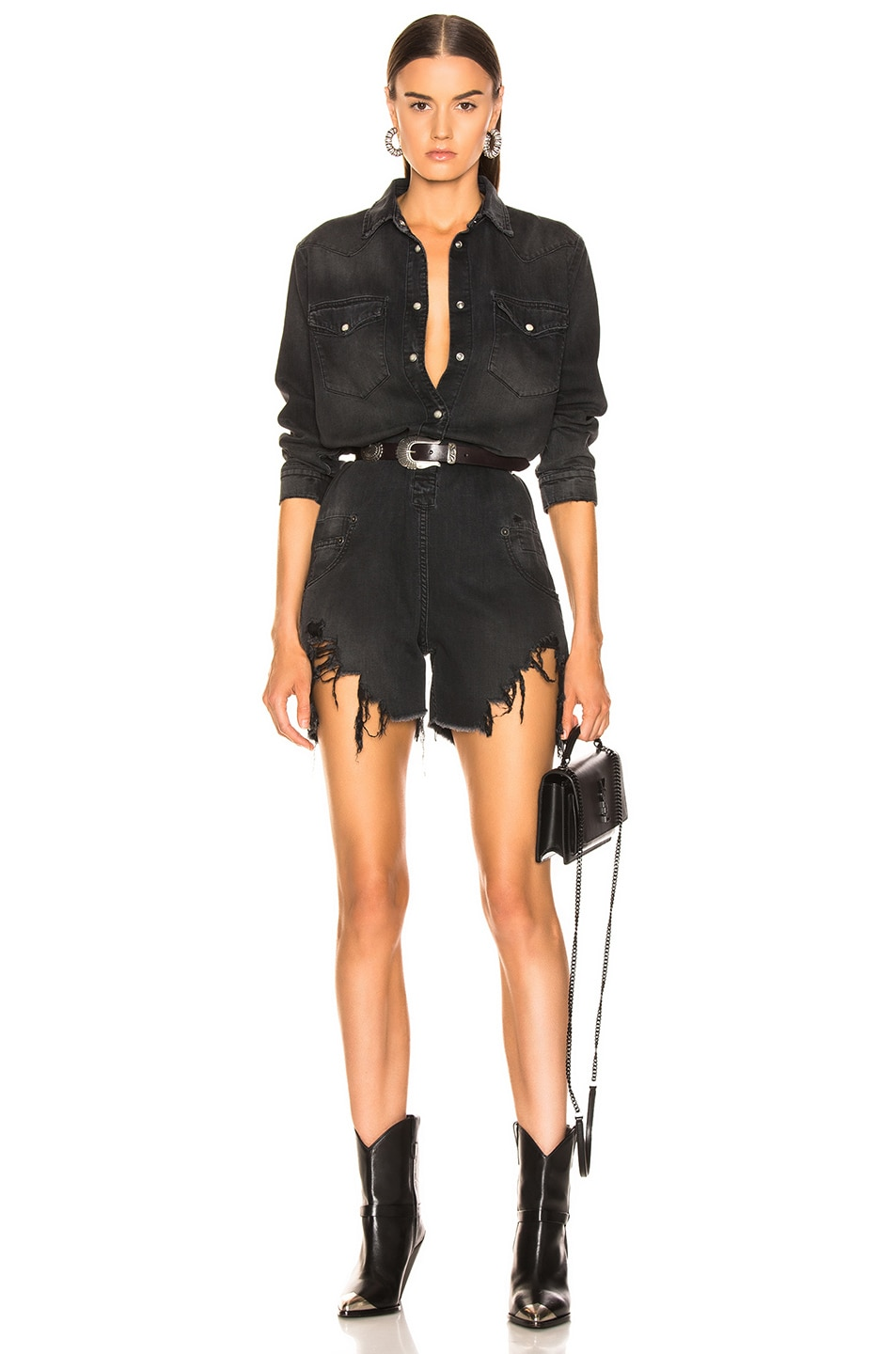 Image 1 of R13 Cowboy Romper in Toby Black