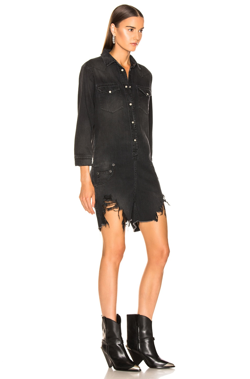 Image 2 of R13 Cowboy Romper in Toby Black