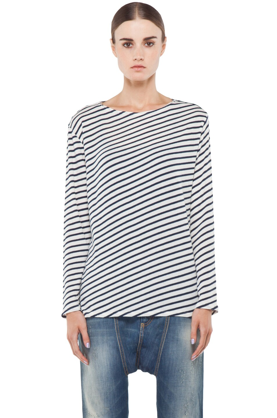 Image 1 of R13 Striped Long Sleeve Tee in Navy