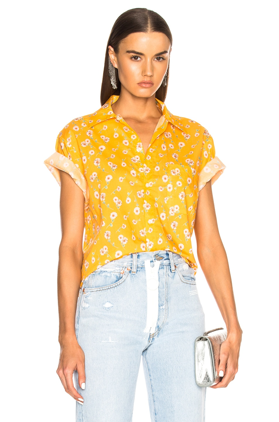 Image 1 of R13 Skater Shirt in Yellow Daisy