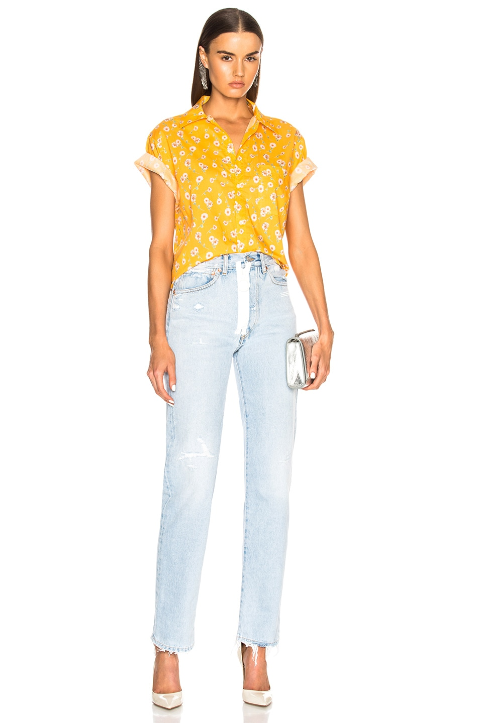 Image 4 of R13 Skater Shirt in Yellow Daisy