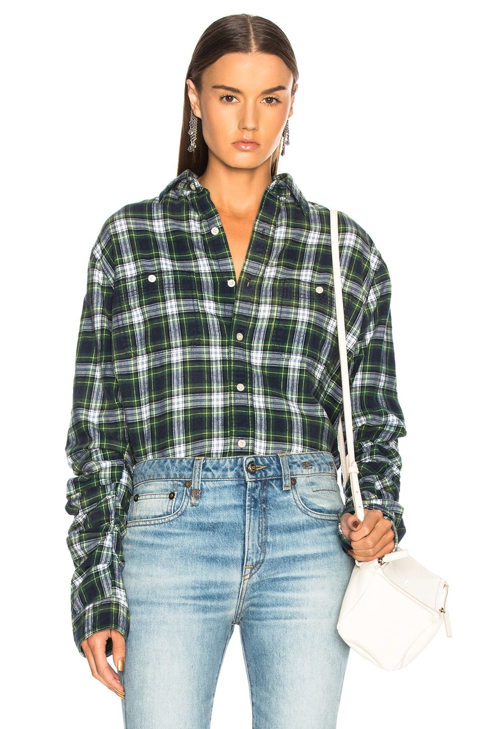 Image 1 of R13 Pleated Sleeve Shirt in Green Plaid