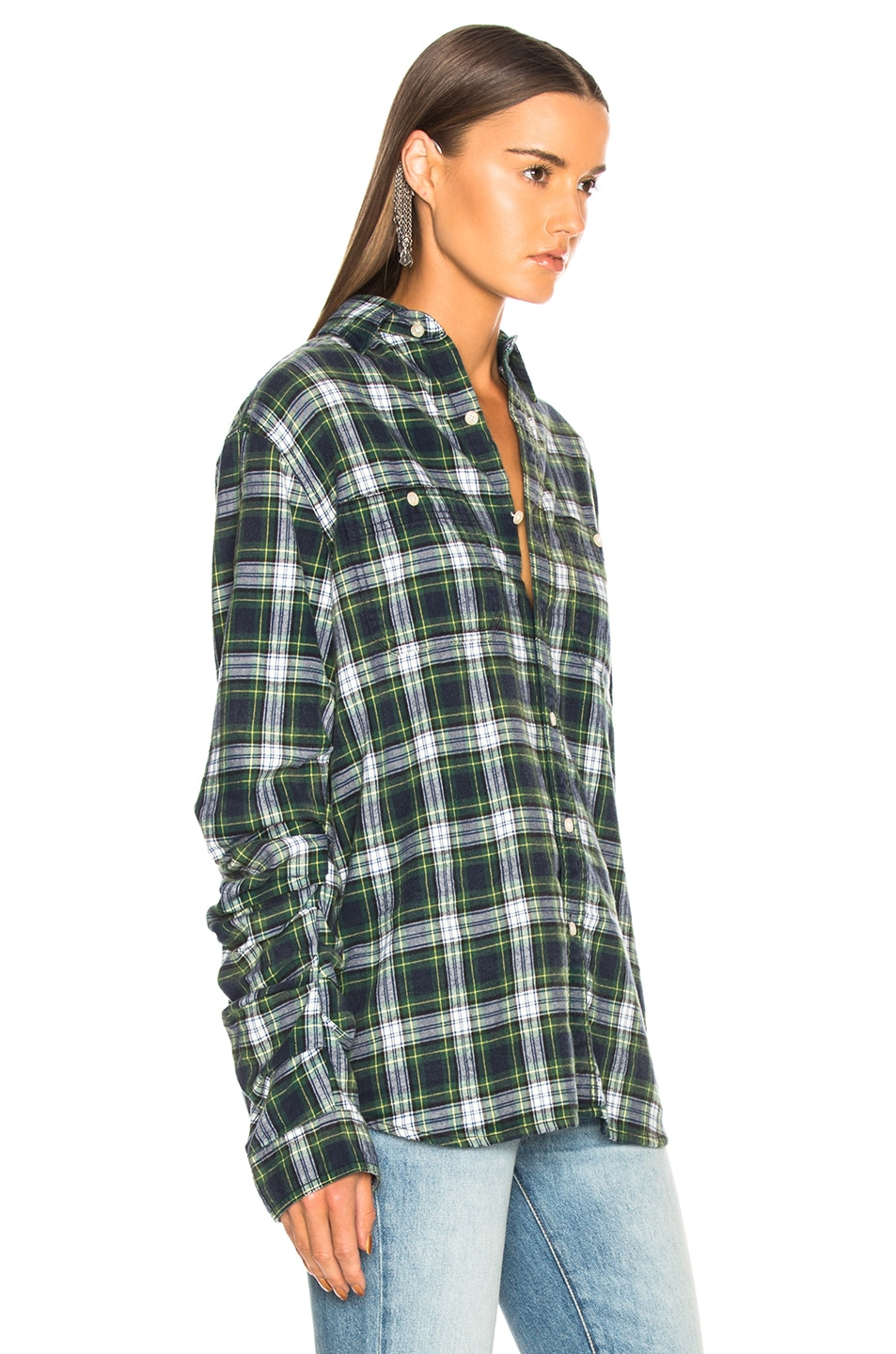 Image 2 of R13 Pleated Sleeve Shirt in Green Plaid
