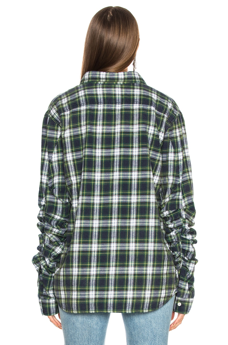 Image 3 of R13 Pleated Sleeve Shirt in Green Plaid