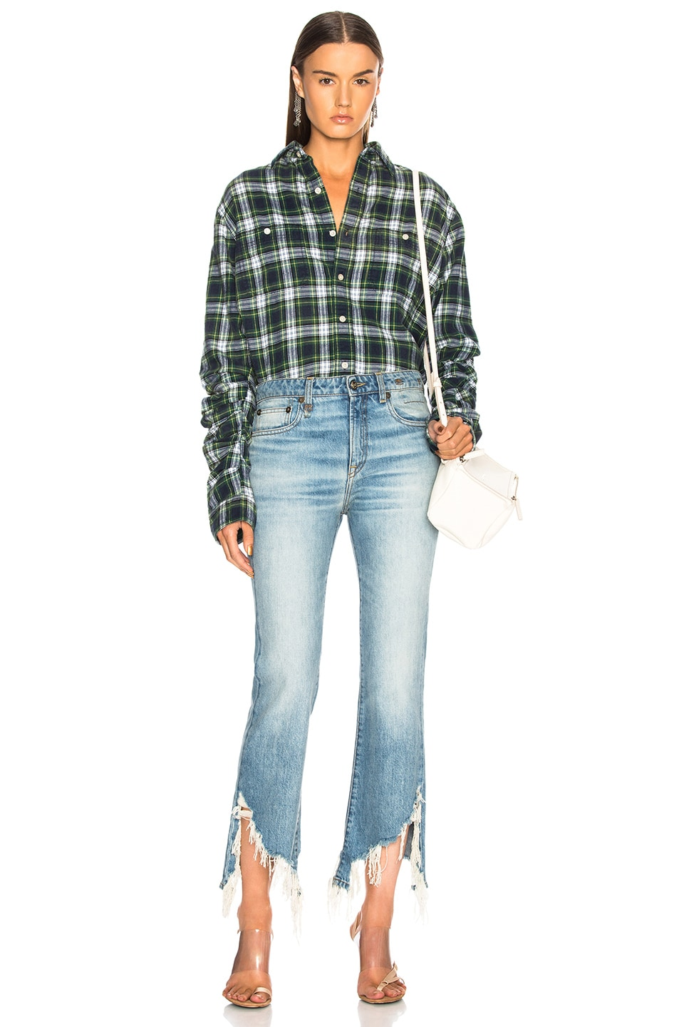 Image 4 of R13 Pleated Sleeve Shirt in Green Plaid