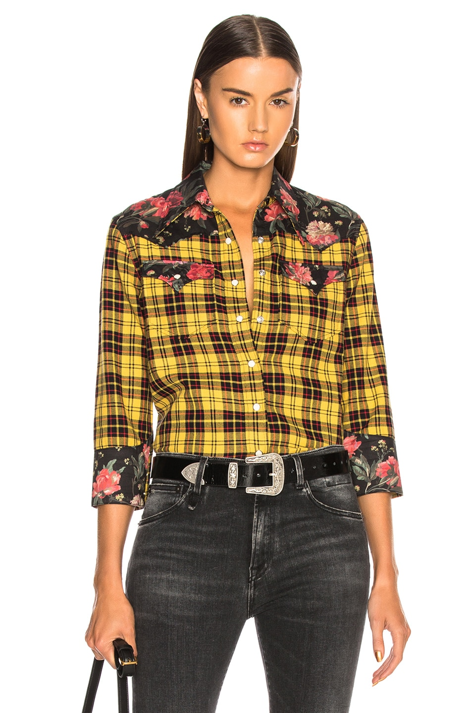 Image 1 of R13 Exaggerated Collar Cowboy Shirt in Yellow & Black Floral