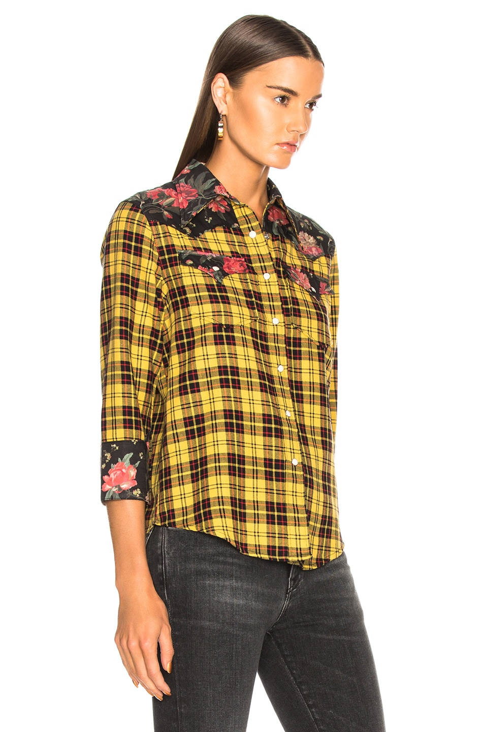 Image 2 of R13 Exaggerated Collar Cowboy Shirt in Yellow & Black Floral