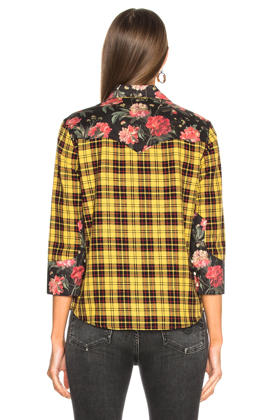 Image 3 of R13 Exaggerated Collar Cowboy Shirt in Yellow & Black Floral