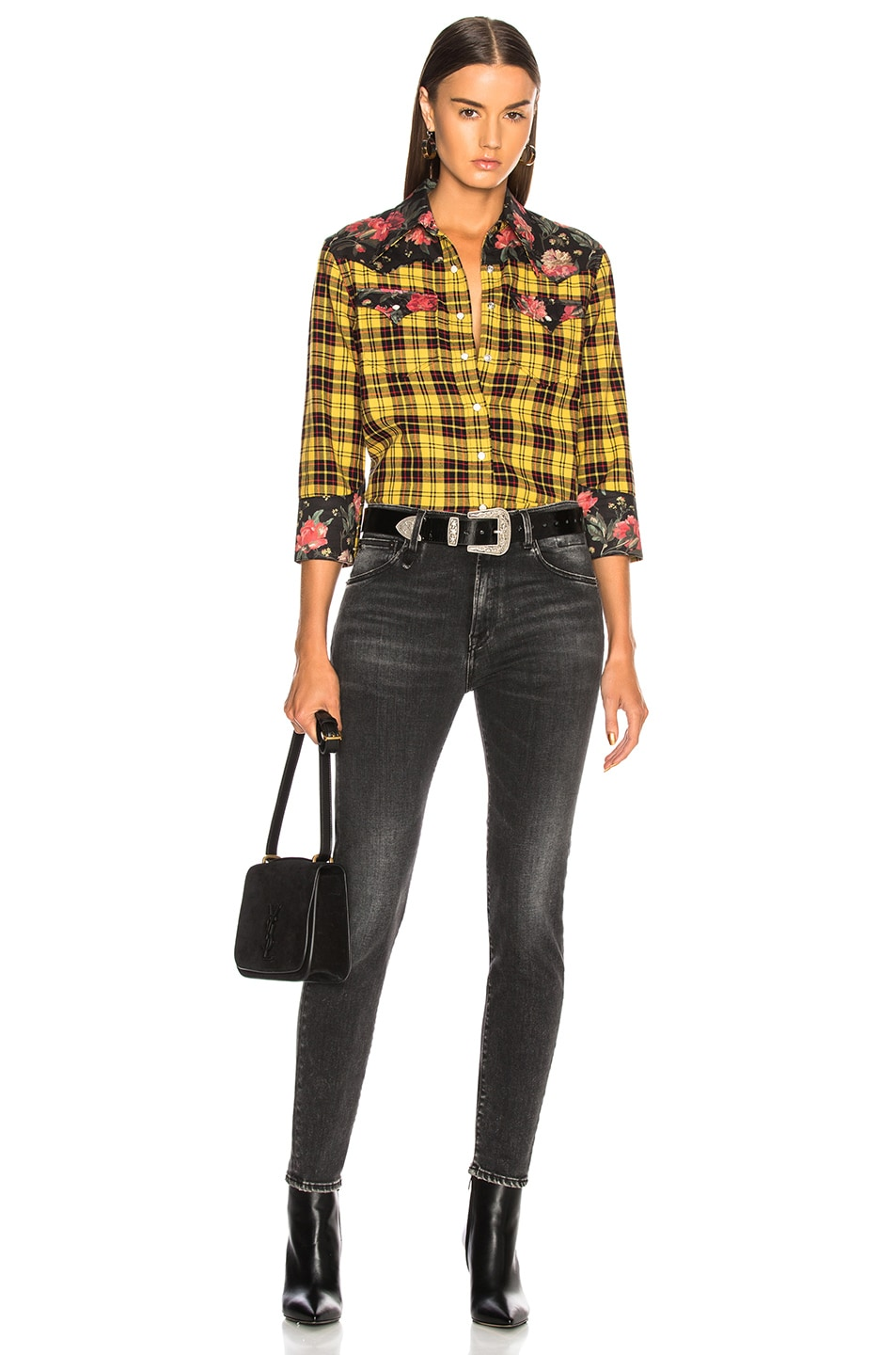 Image 4 of R13 Exaggerated Collar Cowboy Shirt in Yellow & Black Floral