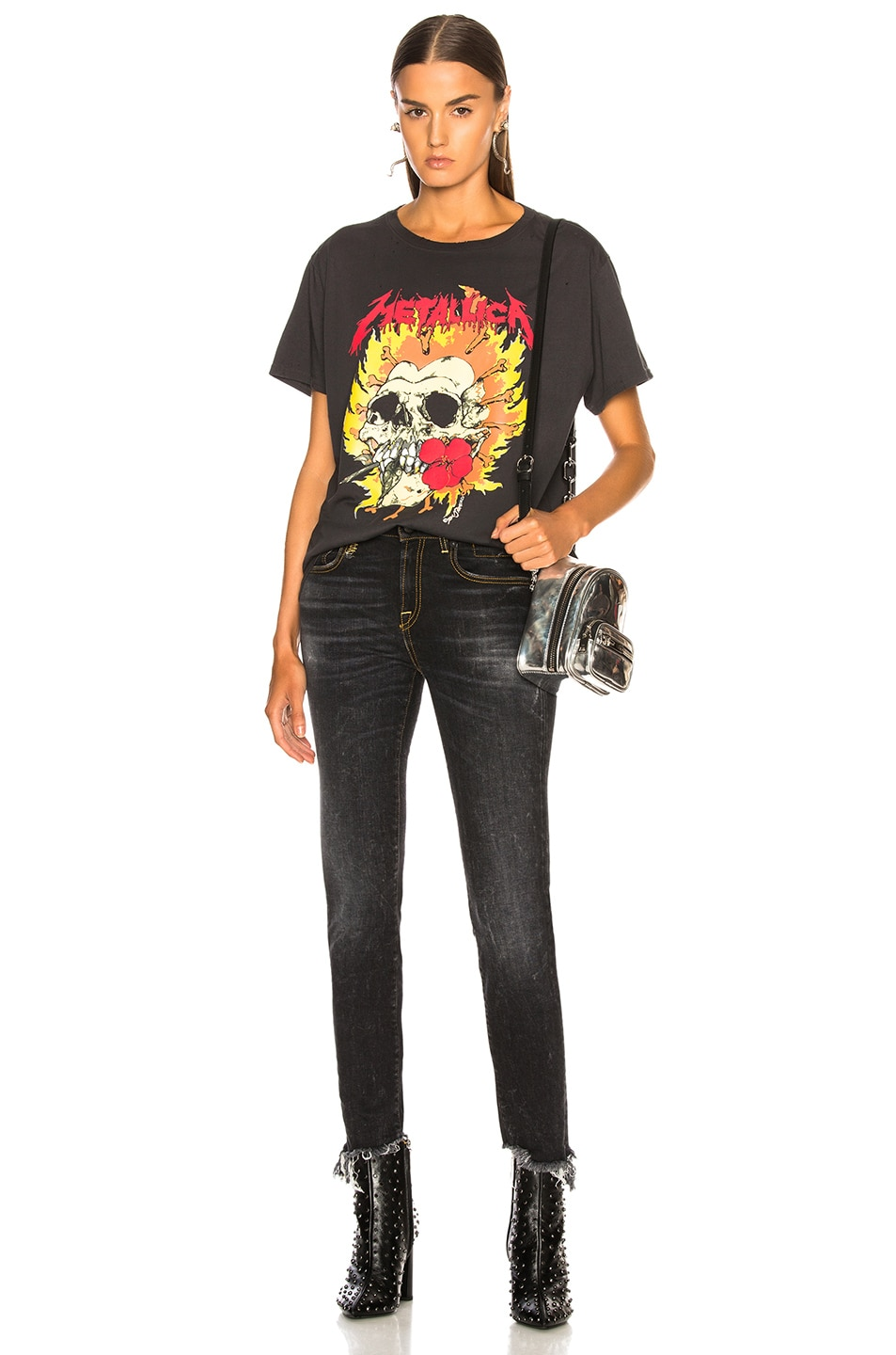 Image 5 of R13 Rose Teeth Vintage Tee in Skull Biker Black