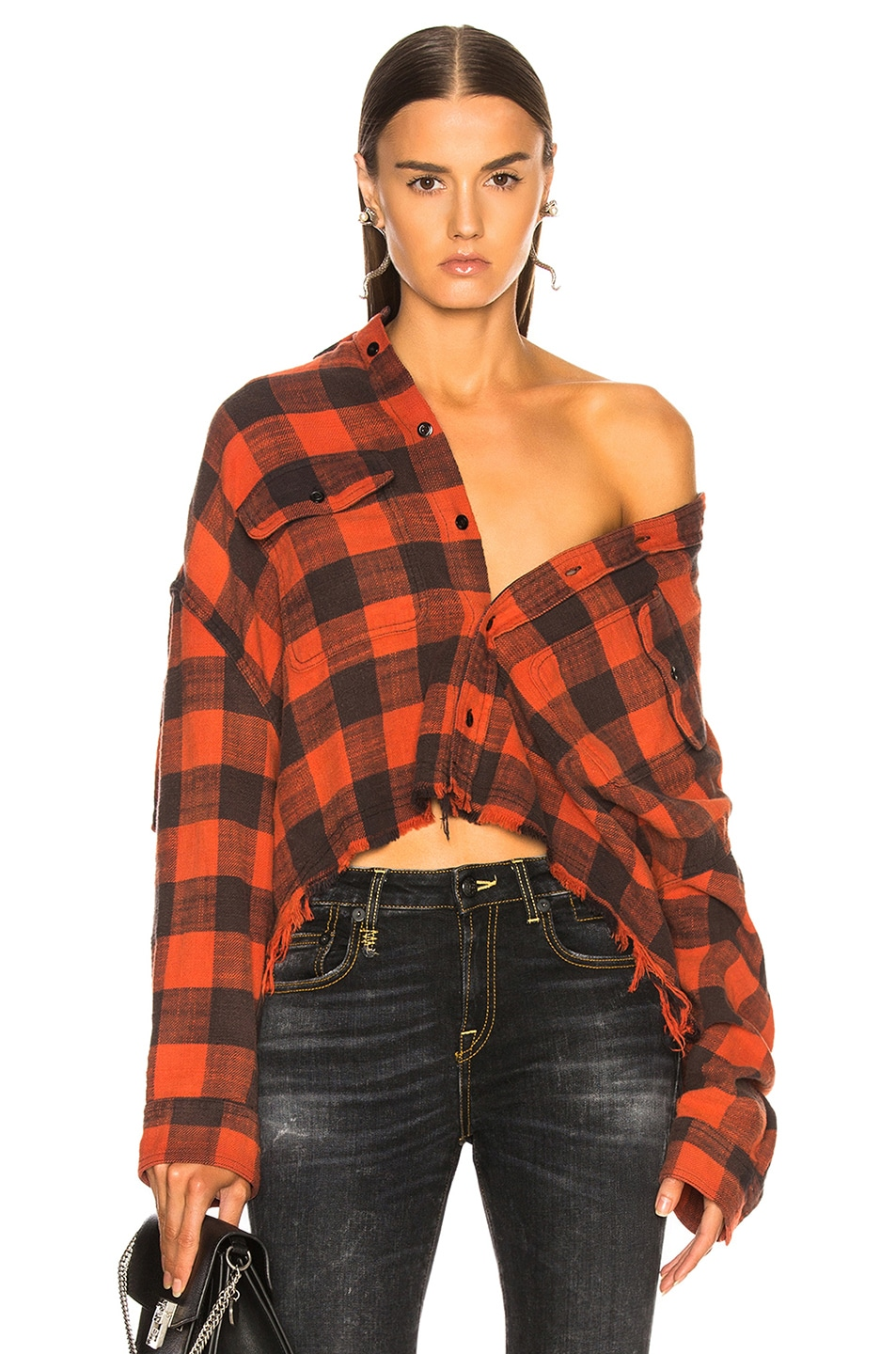 Image 1 of R13 Cropped Work Shirt in Red Plaid