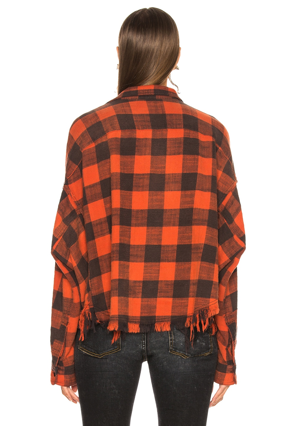 Image 4 of R13 Cropped Work Shirt in Red Plaid