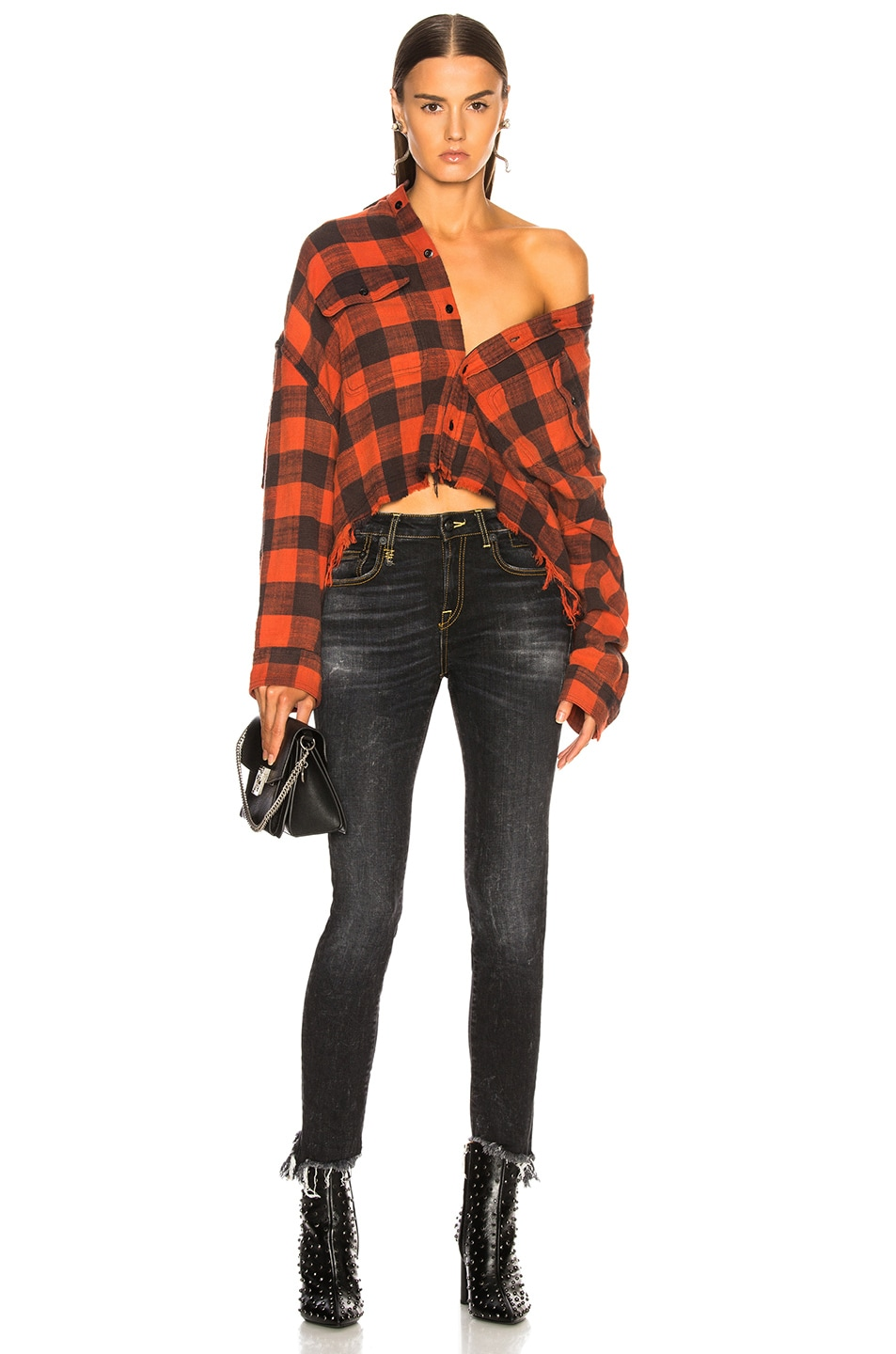 Image 5 of R13 Cropped Work Shirt in Red Plaid