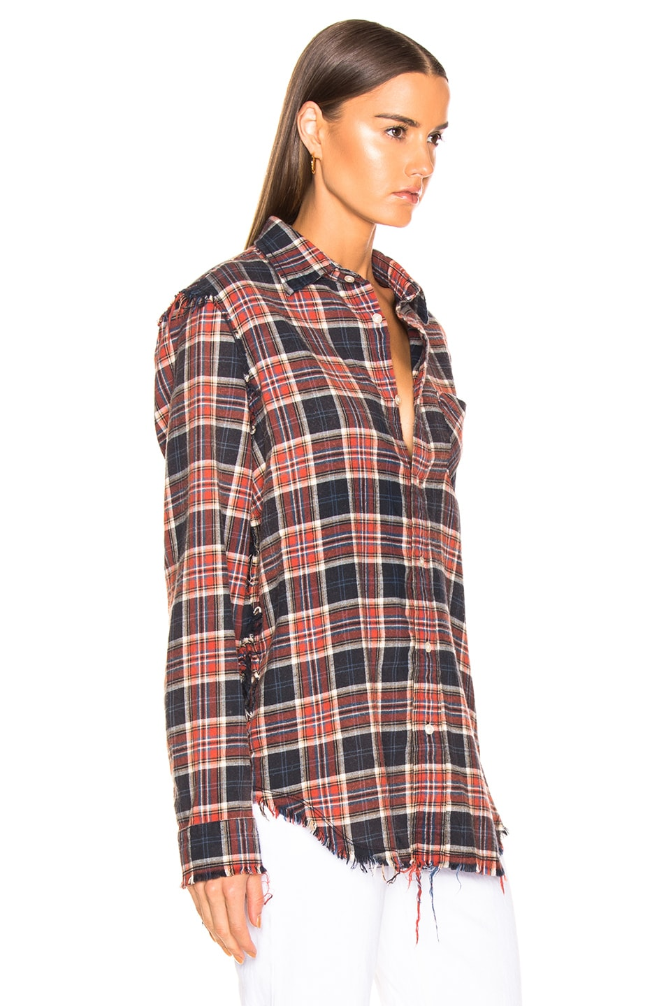 Image 2 of R13 Shredded Seam Shirt in Red & Navy Plaid