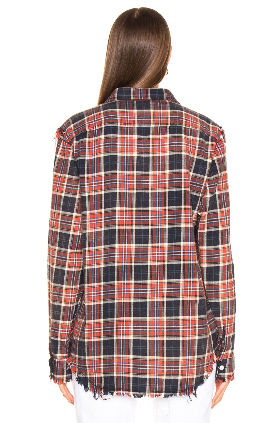 Image 3 of R13 Shredded Seam Shirt in Red & Navy Plaid