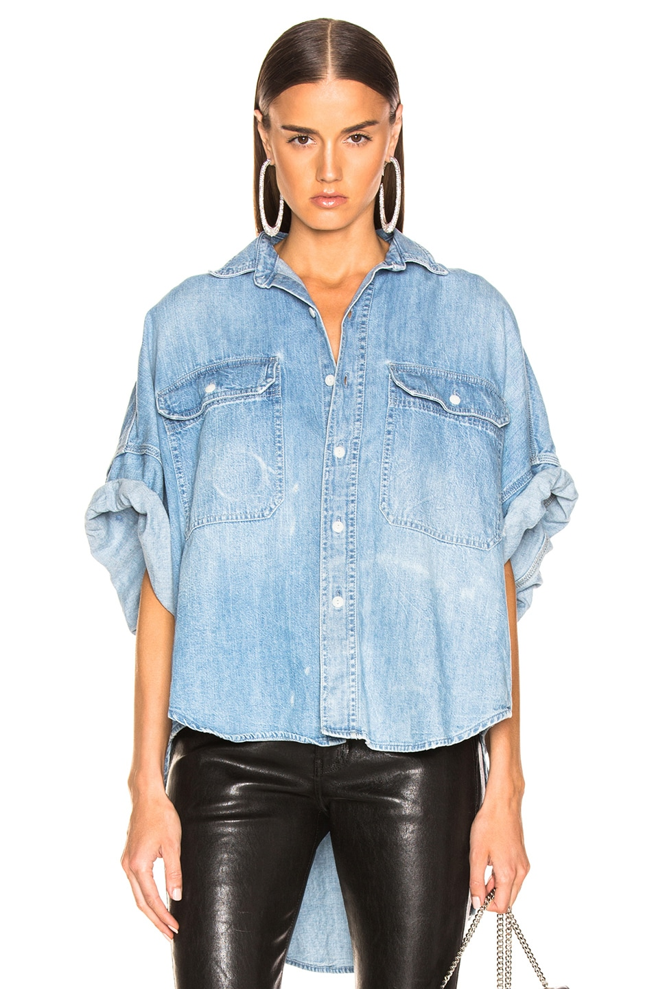 Image 1 of R13 Patti Oversized Short Sleeve Shirt in Timmy