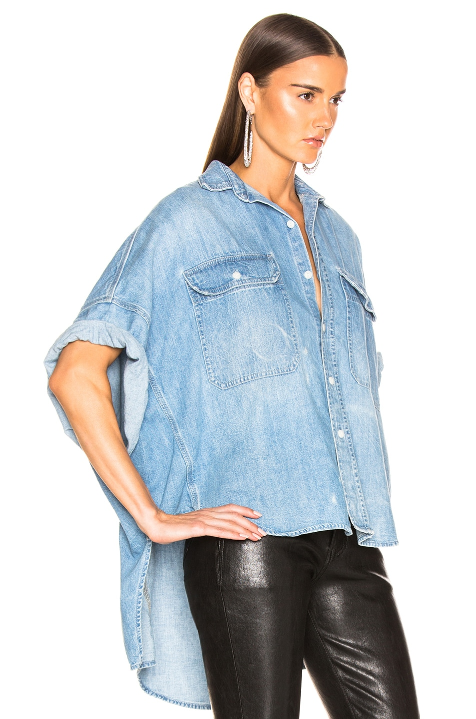 Image 2 of R13 Patti Oversized Short Sleeve Shirt in Timmy